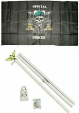 3x5 Special Forces Mess With The Best Flag w/ 6' Ft White Flagpole Flag Pole kit