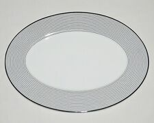 "MIKASA Bone China Serving Platter NEW Cheers Rings 16 Inch Oval White Black 16"""