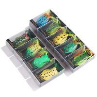 9pcs Soft Frog Fishing Lure 5.5cm12.5g Silicone Topwater Bait Wobbler Crankbait