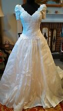 Wedding Dress Gown Ivory - Silk Bottom - Lace Top - Short Sleeve Size 10 NEW