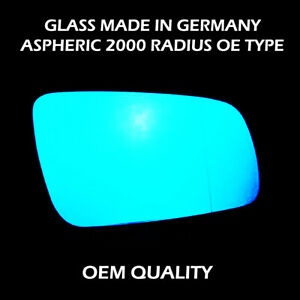 Wide Angle Wing Mirror Blue Tinted Glass For Audi A8 FITS To 1994 to 2002, RHS