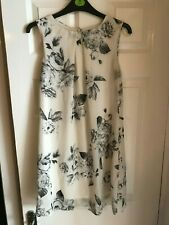 WOMENS ATMOSPHERE BLACK AND WHITE FLORAL SUMMER SLEEVELESS DRESS SIZE 10