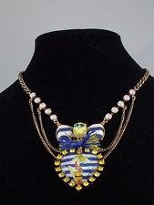 Betsey Johnson Brasstone SHIP SHAPE Pin Up Girl Heart Bow Skull Layer Necklace