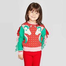 Toddler Girls 18 Months Well Worn Unicorn Fringe Ugly Holiday/Christmas Sweater