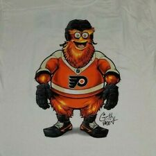 Gritty #00 Philadelphia Flyers Mascot White T-Shirt Large New Front/Back printed