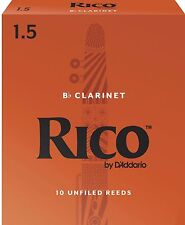 Rico by D'addario Bb Clarinet Reeds 10 Pack Strength 1.5. P/No:- RCA1015