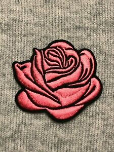 Pink Blooming Rose Flower Petals Embroidery Iron/Sew On Patch Badge Applique