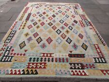 More details for vintage kilim traditional hand made oriental pink wool large kilim 353x350cm