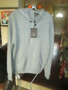 FANTASTIC MENS LINCS DC & CO GRAY CASHMERE HOODIE SWEATER, SZ M L NEW WITH TAGS