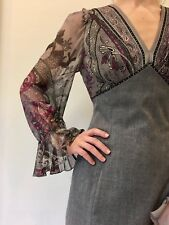 RENATO NUCCI Paisley Print Cotton Grey Pencil Dress Sz 36 UK 8 Small