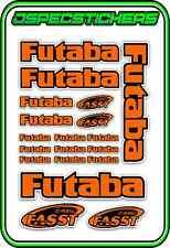 FUTABA RC STICKERS A5 SHEET R/C PLANE CAR BUGGY HELI REMOTE CONTROL ORANGE BLACK