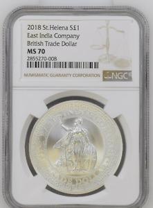 2018 St. Helena Silver 1 oz BRITISH Trade Dollar Restrike | E. India Co. | MS 70