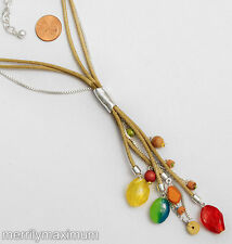 Chico's Signed Necklace Silver Tone Cord & Chain Dangles Red Yellow Blue Beads