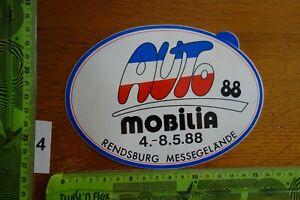 Alter Aufkleber Messe AUTO MOBILIA 1988 Stadt RENDSBURG