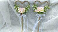 Blush Pink Heart Shape Rustic Bridesmaid Wand Flower Girl wildflower wedding