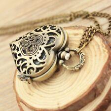 Chain Vintage Pendant Bronze Gift Quartz Necklace Pocket Watch Heart Shape