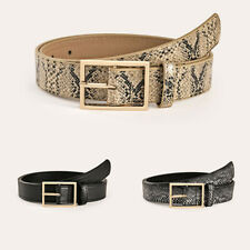 Women Floral PU Wide Jeans Belts Square Pin Buckle Faux Leather Waist Strap Belt