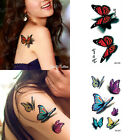 2PCS Temporary Tattoo Colorful 3D Butterfly Waterproof Body Arm Leg Art Stickers