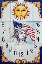 SUNDIAL 8 tiles handpainted ceramic,high quality,Flag of AMERICA, STATUE FREEDOM