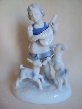 VINTAGE WESTERN GERMANY BABARIA GIRL /GUITAR /SHEEPS PORCELAIN FIGURINE NUMBERED