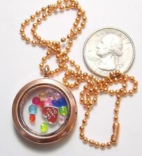 """Floating Faux Crystal Memory Charm/Story Copper Locket Necklace, 18"""" Bead Chain"""