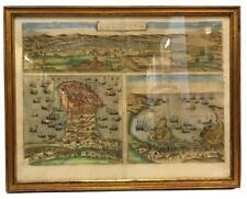 c1593 Tunis/Mahdia/Penon de Veles MAP Johannes Maius/Braun/Hogenberg Woven Cloth
