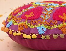 16'' Ethnic Suzani Embroidered Cushion Cover Pillow Case Indian Throw Decor Art