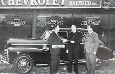 """12 By 18"""" Black & White Picture Chevrolet 1948 - 4 door in front of dealership"""