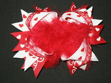 "NEW ""VALENTINE FUNKY HEARTS"" Fur Hairbow Alligator Clips Girls Ribbon 5 Inches"