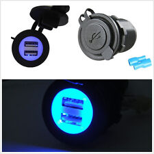 Waterproof 12-24V 2-USB Car Blue LED Angel Eye Pupil Charger Adapter For iPhone