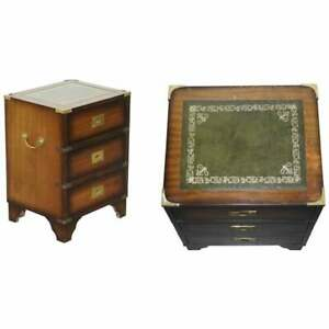 PERIOD HARRODS KENNEDY MILITARY CAMPAIGN SIDE TABLE CHEST OF DRAWERS LEATHER TOP