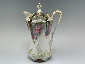 Antique RS Prussia Mold Luster Roses Chocolate Pot, Sgnd Royal Vienna Germany