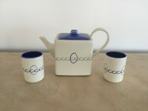 Michel & Co. Two Women Boxing Square Teapot with Two Teacups Matte White & Blue
