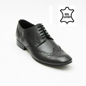 Lucini Mens Designer Brogues Oxford Leather Lace Up Formal Wedding Shoes Size