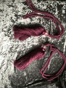Pair Of Burgundy Jewelled tassel curtain tie Backs