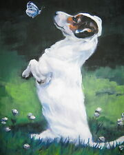Jack Russell Terrier dog art canvas Print of lashepard painting Lshep 8x10""