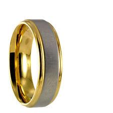 Edelstahl Bicolor silber / gold Ring Partnerring Ehering mit gratis Gravur 10164