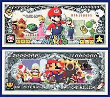 2-Super Mario Brothers Dollar Bills Nintendo Game- FAKE- MONEY- NOVELTY -S1
