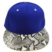 SNAKE SKIN PLAIN (ROYAL BLUE/WHITE) COTTON SNAPBACK CAP