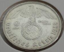 Germany 2 REICHSMARK SILVER MARK HINDENBURG SWASTIKA 1938 E Third Reich