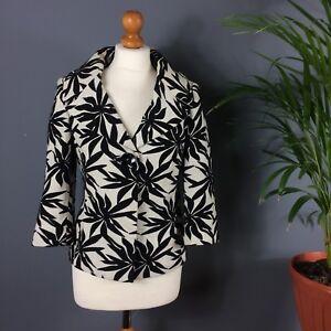 Wallis Black Cream Bold Leaf Print Cotton Blend Summer Jacket 10