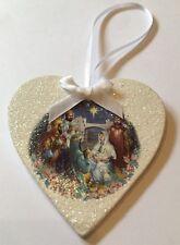 Nativity Christmas Hanging Decoration Retro Shabby Chic Original Decals Handmade