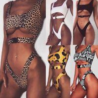 Women Buckle Thong Bikini Set Padded Push Up Swimwear Swimsuit Bathing Beachwear