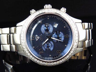 Mens Aqua Master Jojino Joe Rodeo Blue Chrono 45 MM Diamond Watch W#141 2.45 Ct