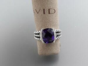 David Yurman Petite Wheaton Ring with Amethyst and Diamond Size 8
