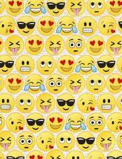Emoji Fabric,smiley faces, fat quarters,100% cotton, yellow faces FUN-C5505