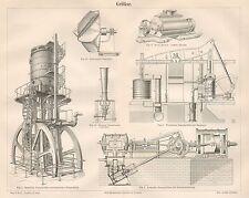 B6436 Soffiatori - Incisione antica 1890 - Engraving
