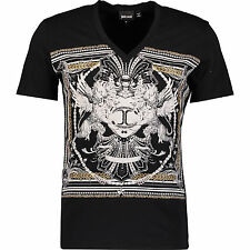 New Just Cavalli Black Studded T-shirt L Large 100% cotton