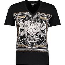 Just Cavalli Black Studded T-shirt M Medium 100% cotton