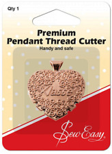 """Sew Easy """" Heart Shaped """" Metal Thread Cutter Pendant, Rose Gold coloured finish"""